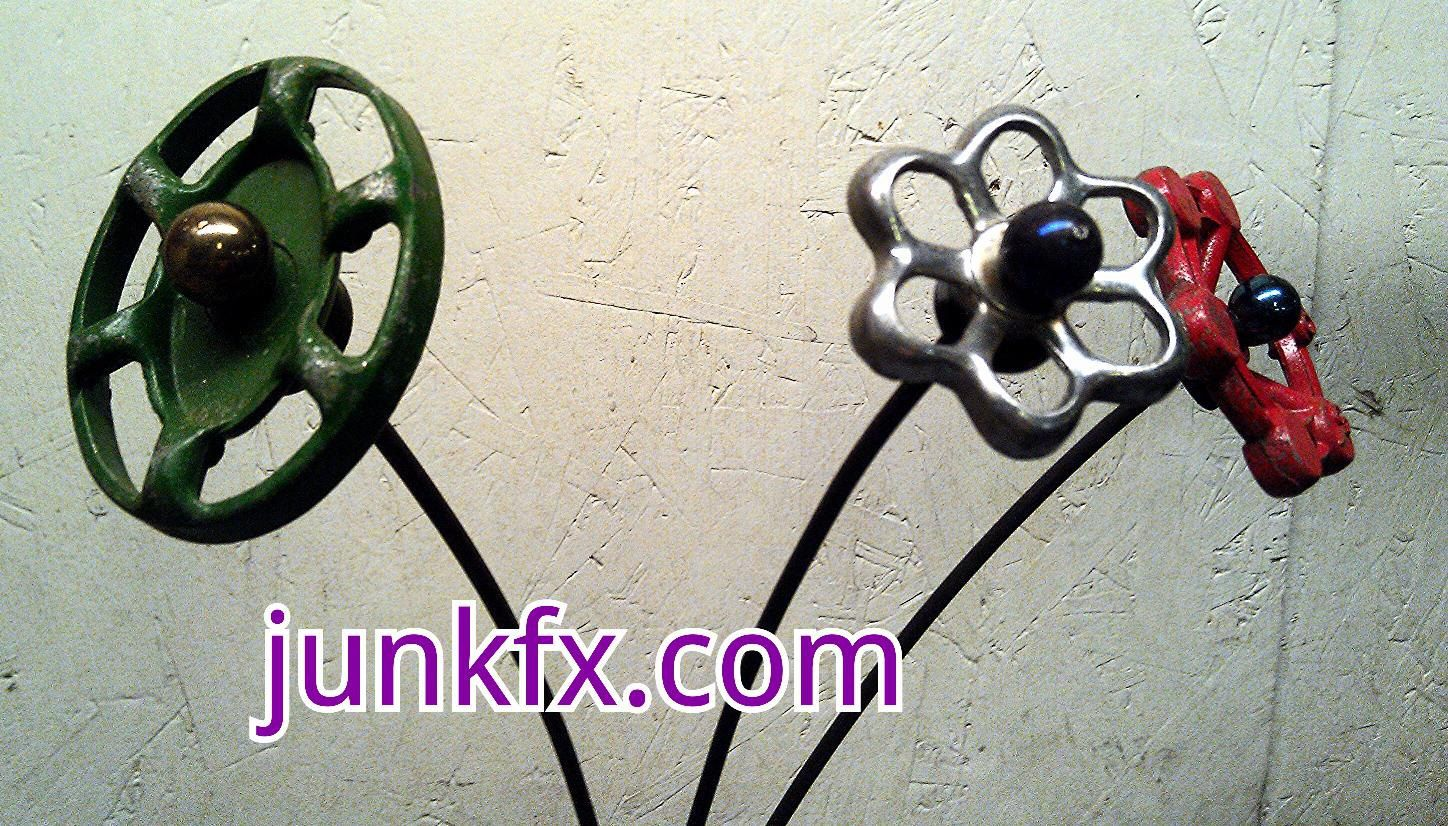 Garden decor out of junk  Recycled Garden Art Faucet Handle Flowers Set of  by junkfx Free