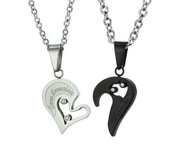de5647eec7 His And Hers Stainless Steel Love Devotion Heart Men Women Pendant Necklaces