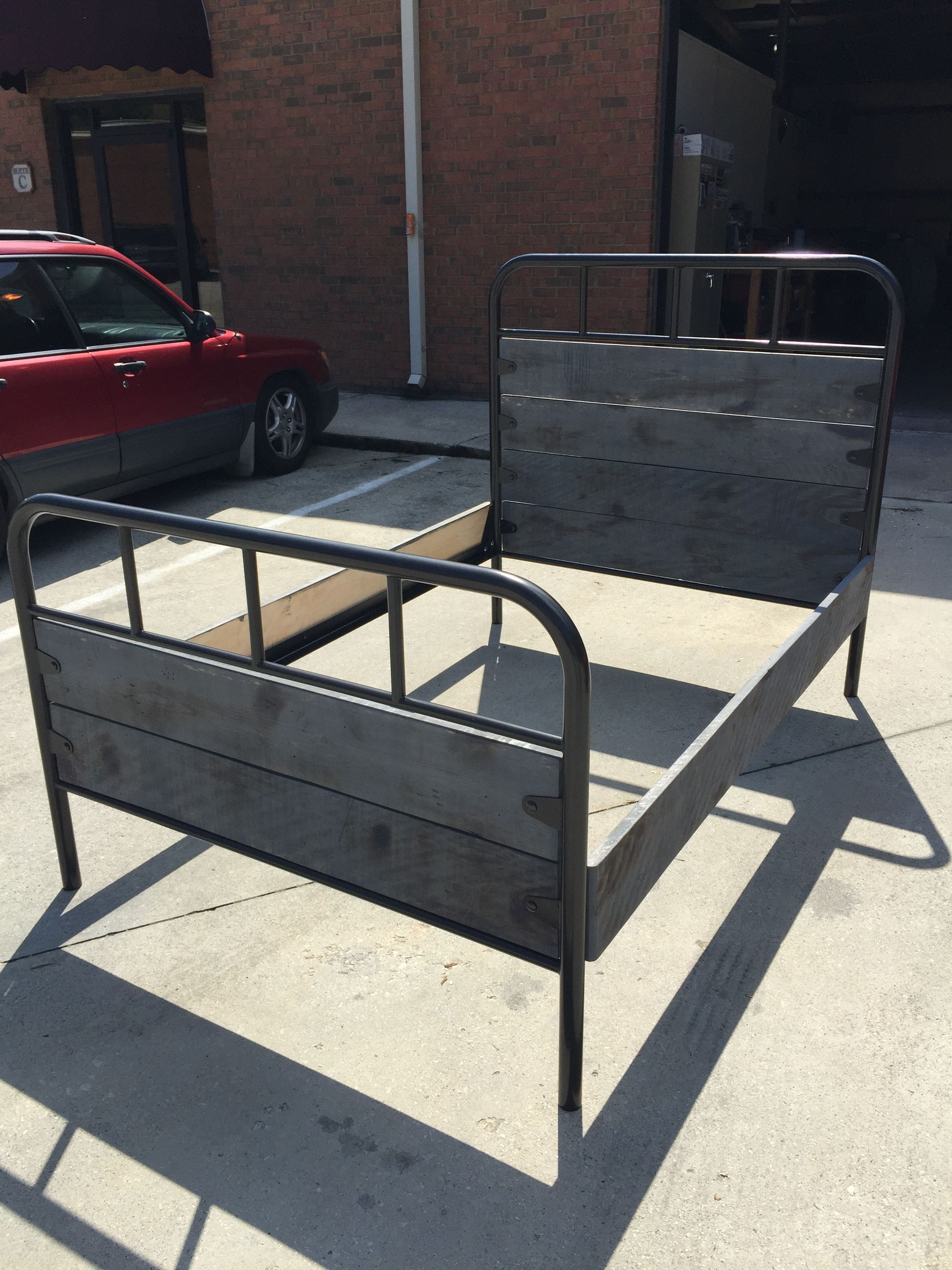 Custom Bed Frame with Hammertone Black finish and vintage
