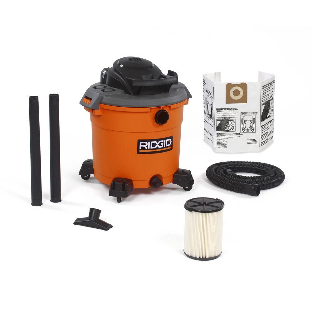 Ridgid 16 Gal 5 0 Peak Hp Wet Dry Shop Vacuum With Filter Dust
