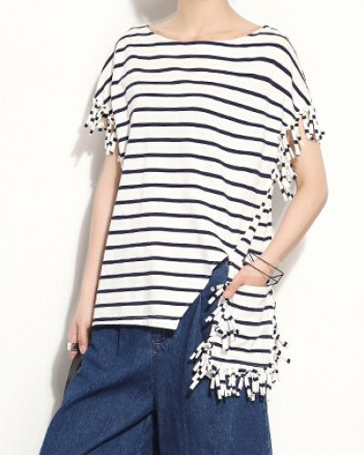 Unique stripe short sleeve t shirt for women fringe t shirts irregular  design