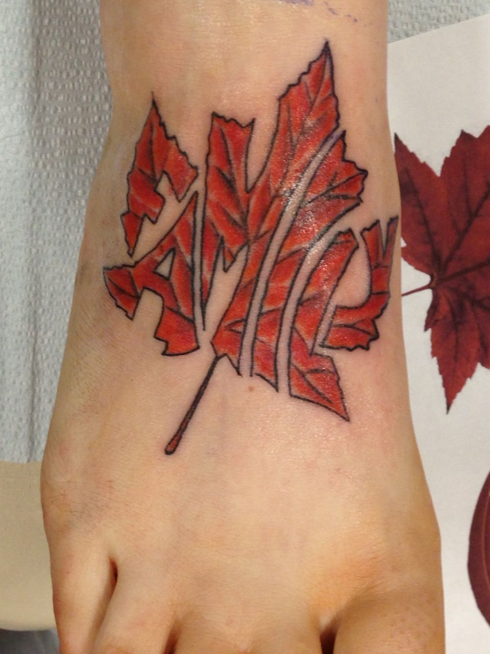 Name canadian flag ripping through skin tattoo designjpg pictures - Shaded Flag Under The Skin See More My Canadian Family Tattoo On My Foot Ouch