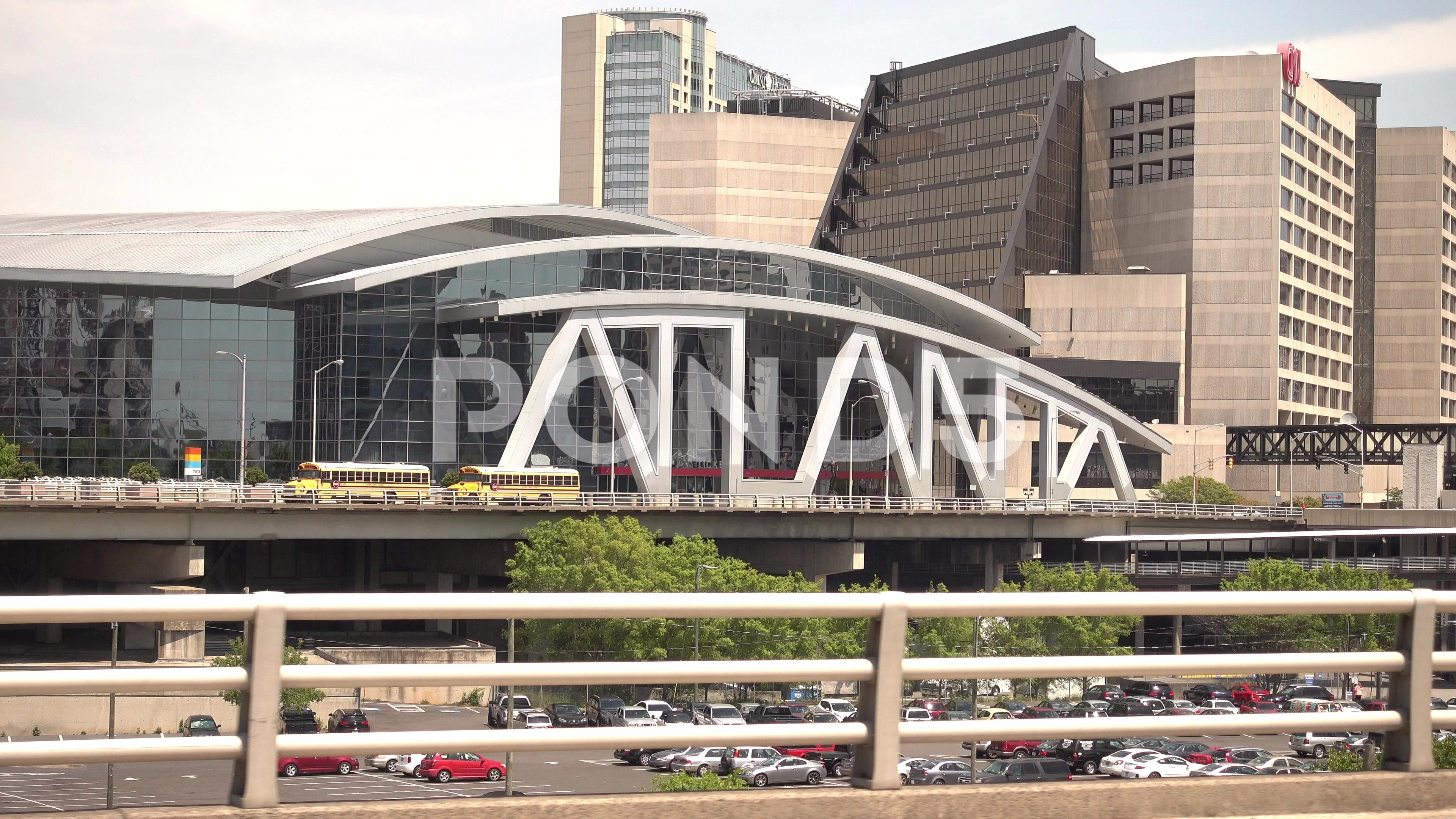 Philips Arena in Atanta Downtown  Big Atlanta letters Stock Footage AtantaDowntownPhilipsArena