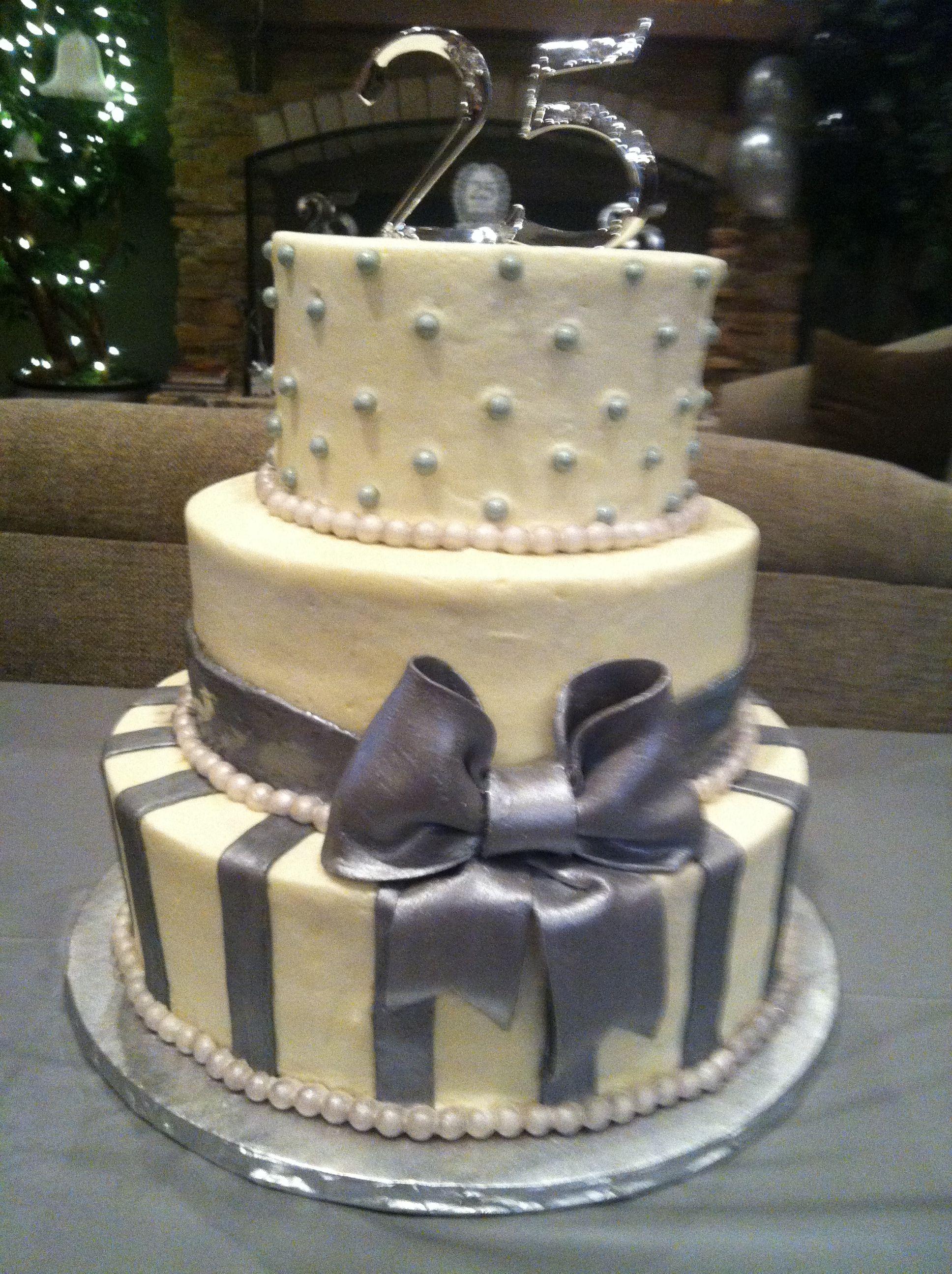 Victor & Nenita's Silver Anniversary custom cake by www.everylittlesweet.com