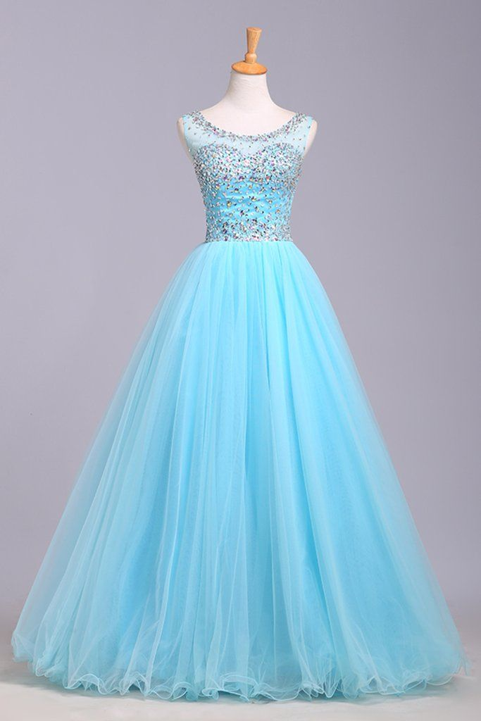 Light Blue Prom Dresses,Tulle Prom Dress,Modest Prom Gown,Silver ...