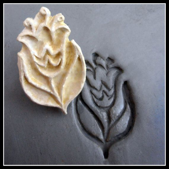 Handcarved Stamp, Bisque Clay stamp, for stamping on stoneware clay, polymer…