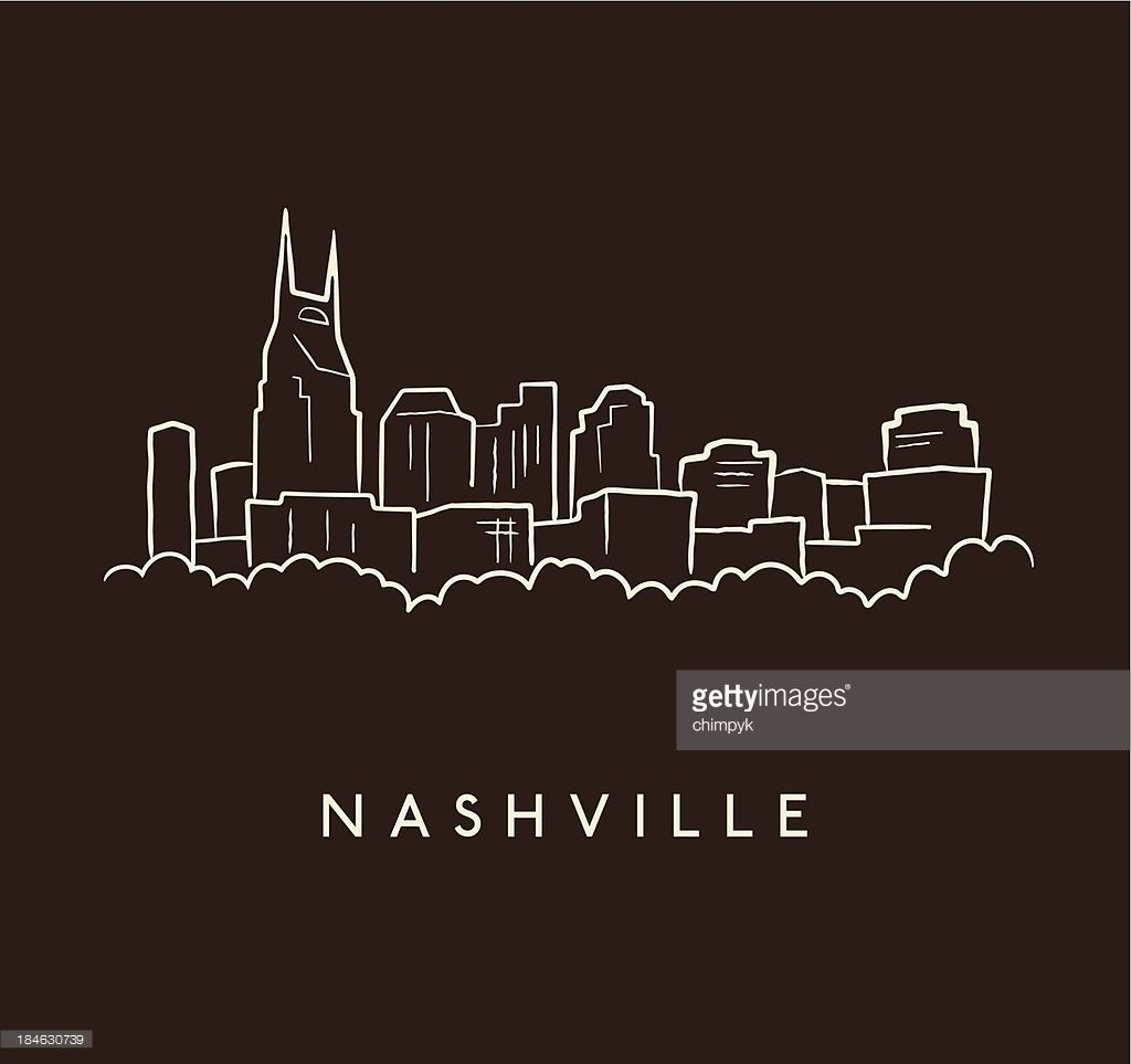 A Sketch Of The Nashville Skyline On A Brown Background With Text Nashville Skyline Nashville Art Skyline Drawing
