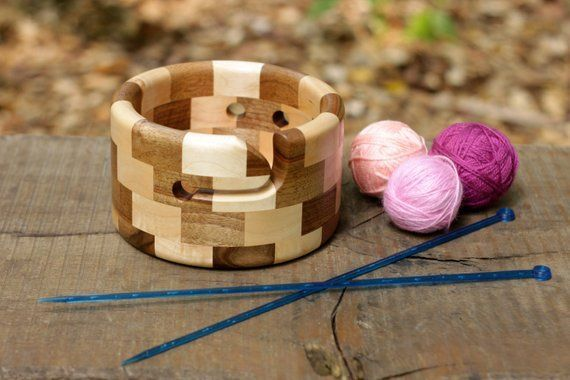 Segmented Yarn Bowl of Natural Maple and Walnut Wood, Crochet Bowl with Stair-step Pattern, Circle Knitting Organizer #crochetbowl Maple and Walnut Segmented Yarn Bowl, Round Wooden Crochet Bowl, Knitting Storage Organizer, Stair-s #crochetbowl