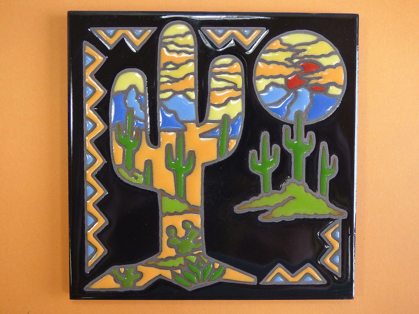 Ceramic Art Tile 6x6 Southwest Saguaro Cactus Vibrant Colors Trivet Wall New I31 Ebay Tile Art Ceramic Art Art