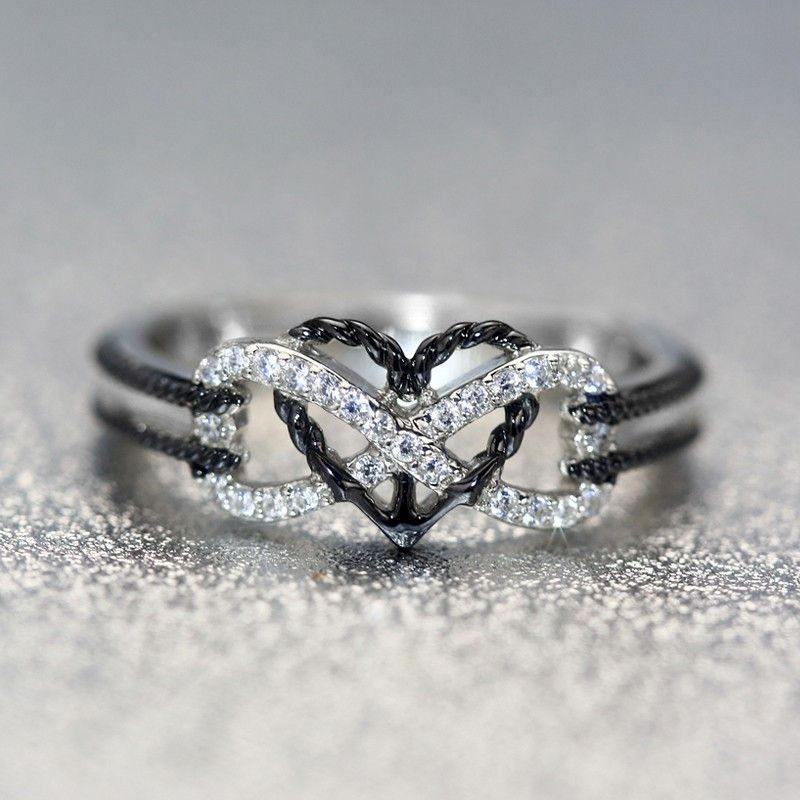 Jewelry & Watches 2019 Fashion Ring 925 Silber Zirkonia Herz Loving Heart Eternity Ring Bandring Gr 16