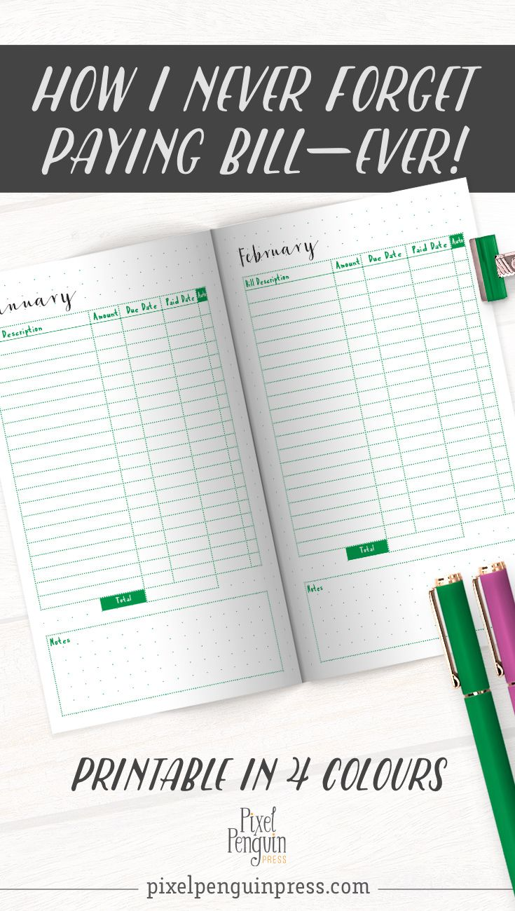 monthly bill organizer printable finance planner book tn insert