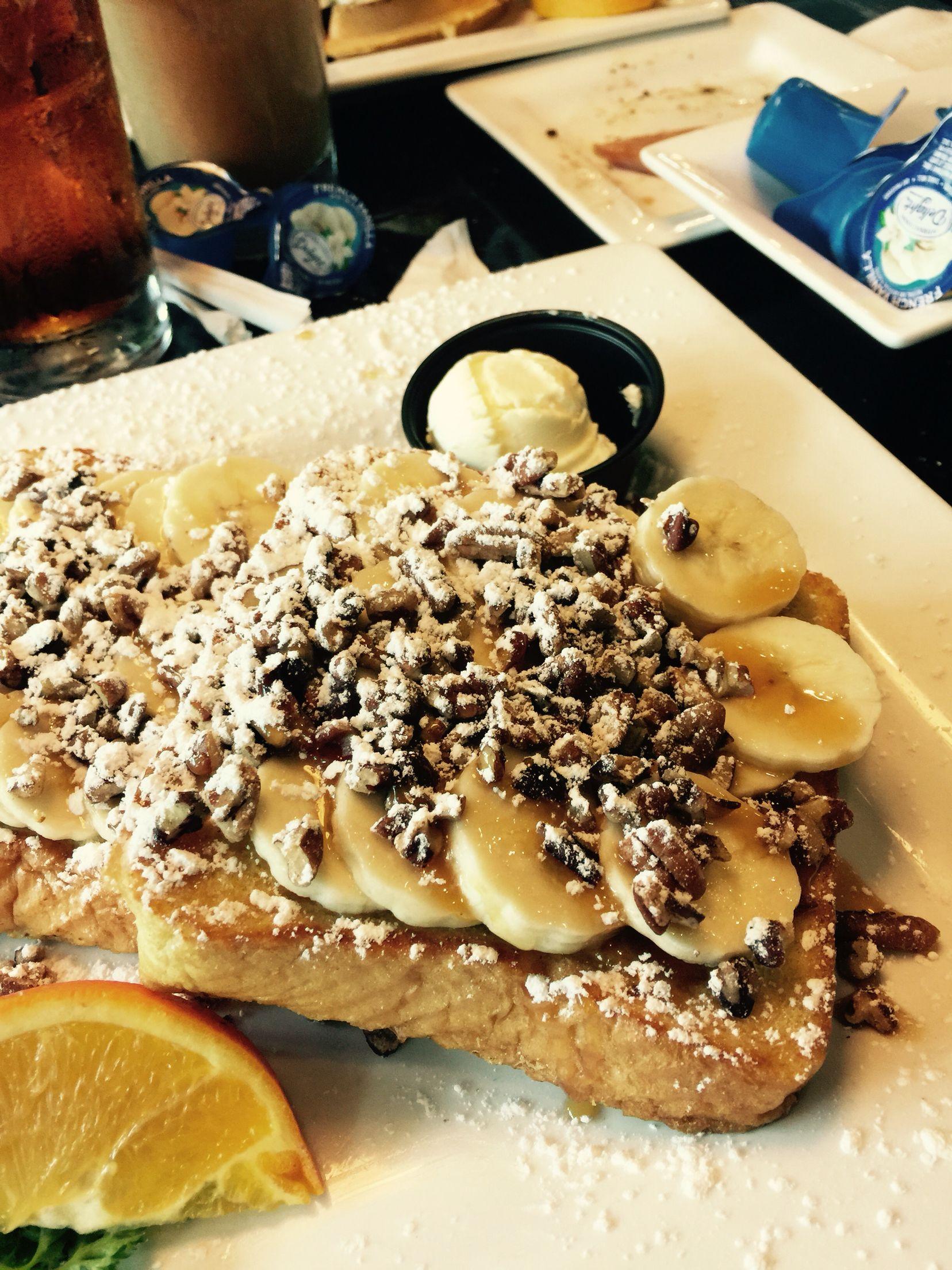 Banana pecan Carmel French toasts # foodporn