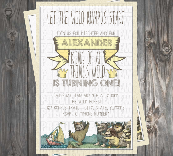 Where the Wild Things Are Birthday Invitation by EmiJaiDesigns, $10.00 USD