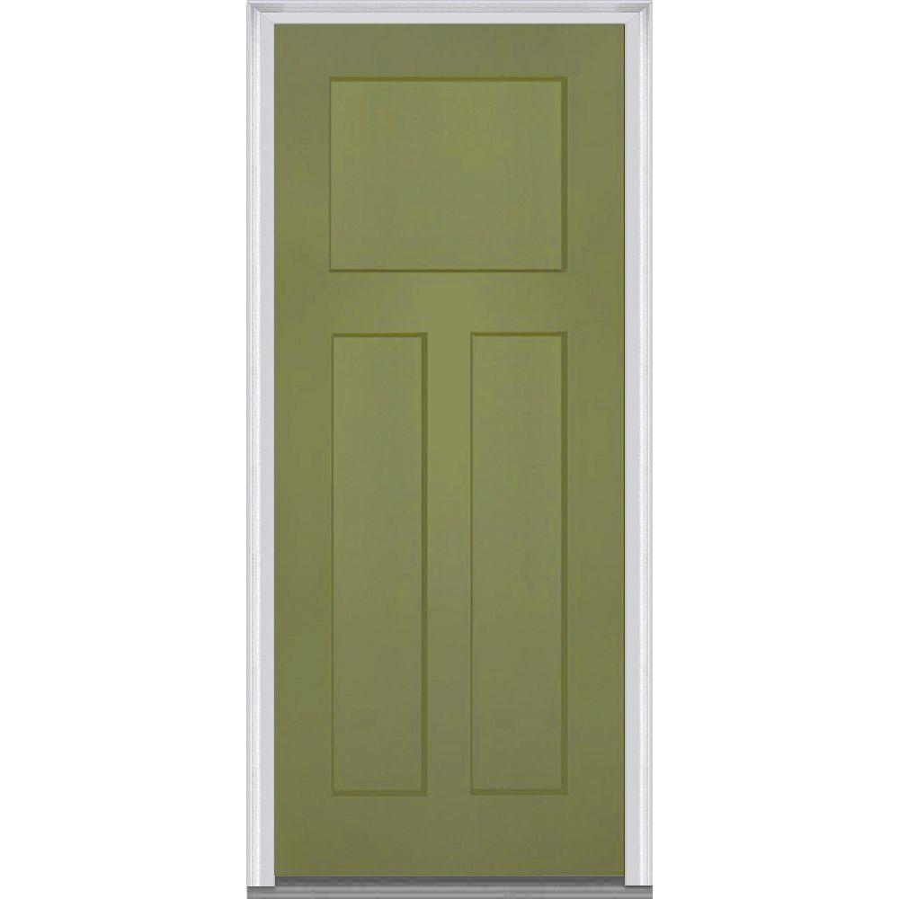 Mmi Door 36 In X 80 In Left Hand Inswing Craftsman 3 Panel Shaker Classic Painted Fiberglass Smooth Prehung Front Door Z015493l Doors Prehung Doors