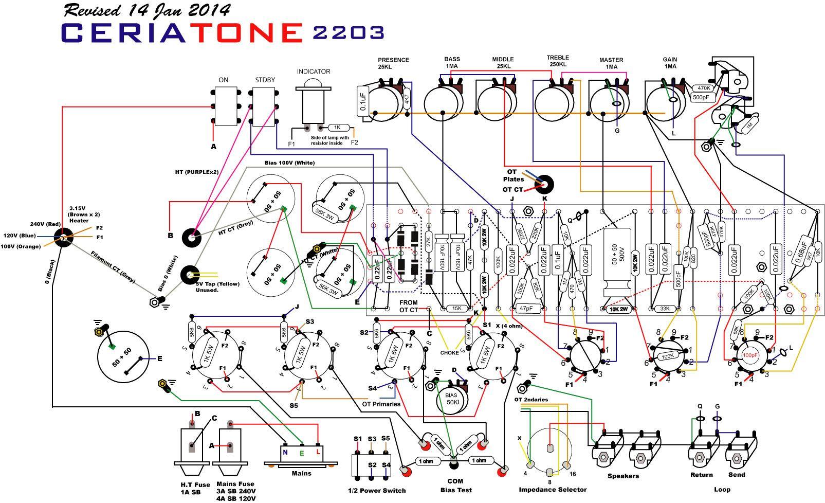 ceriatone 2203 layout amplifiers valve amplifier guitar amp bass amps. Black Bedroom Furniture Sets. Home Design Ideas