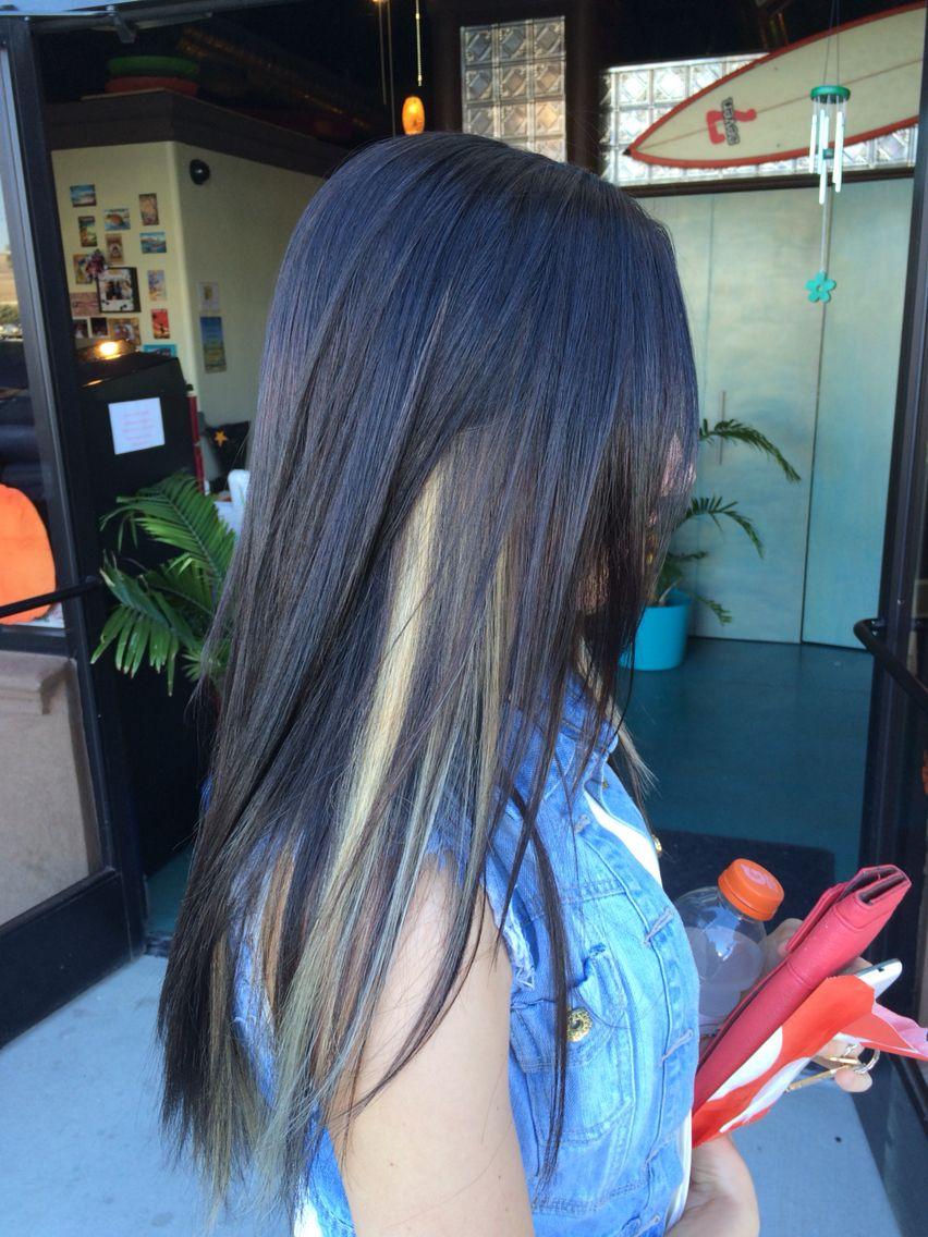 Dark Brown With Blonde Peekaboos Blonde Peekaboos Brown Blonde Hair Dark Hair