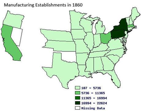 Causing The Civil War Teachinghistoryorg Lesson Planning - Gun manufactoring factories in the us map