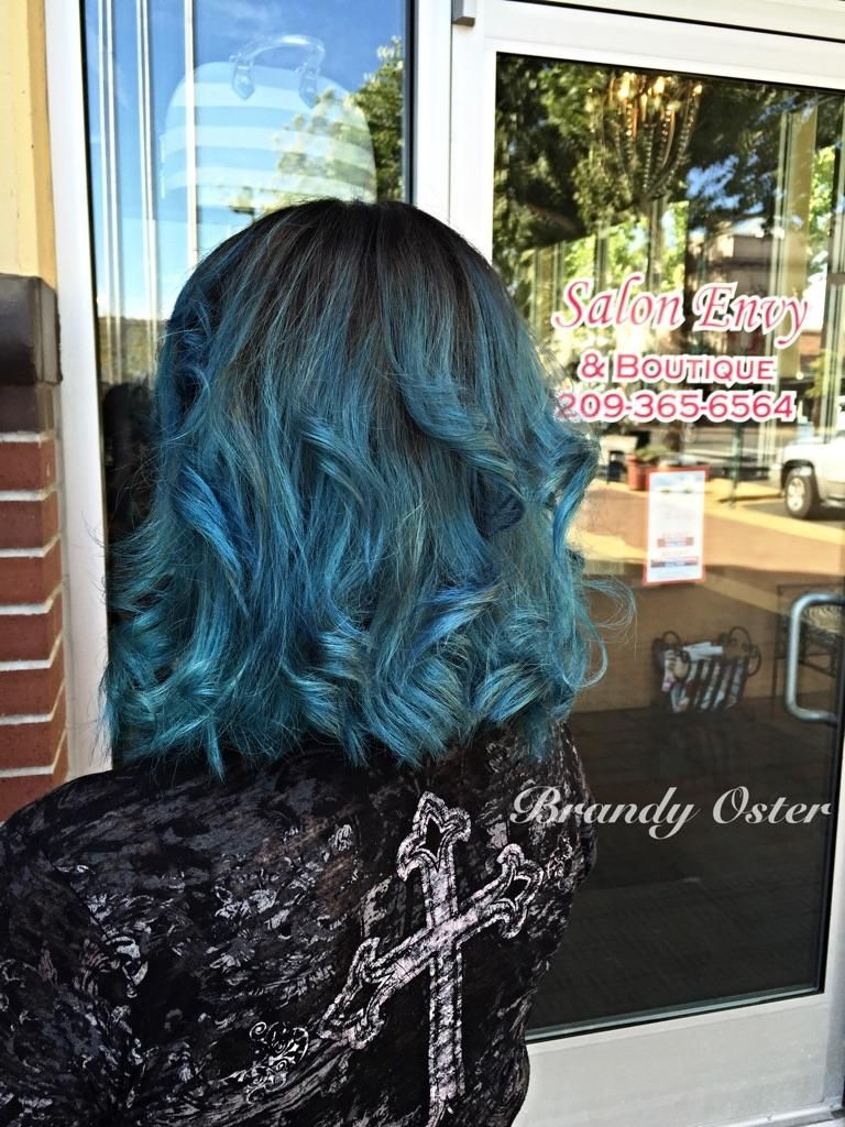 Kenra Color Creative work by Brandy Oster. #TealHair #BlueHair