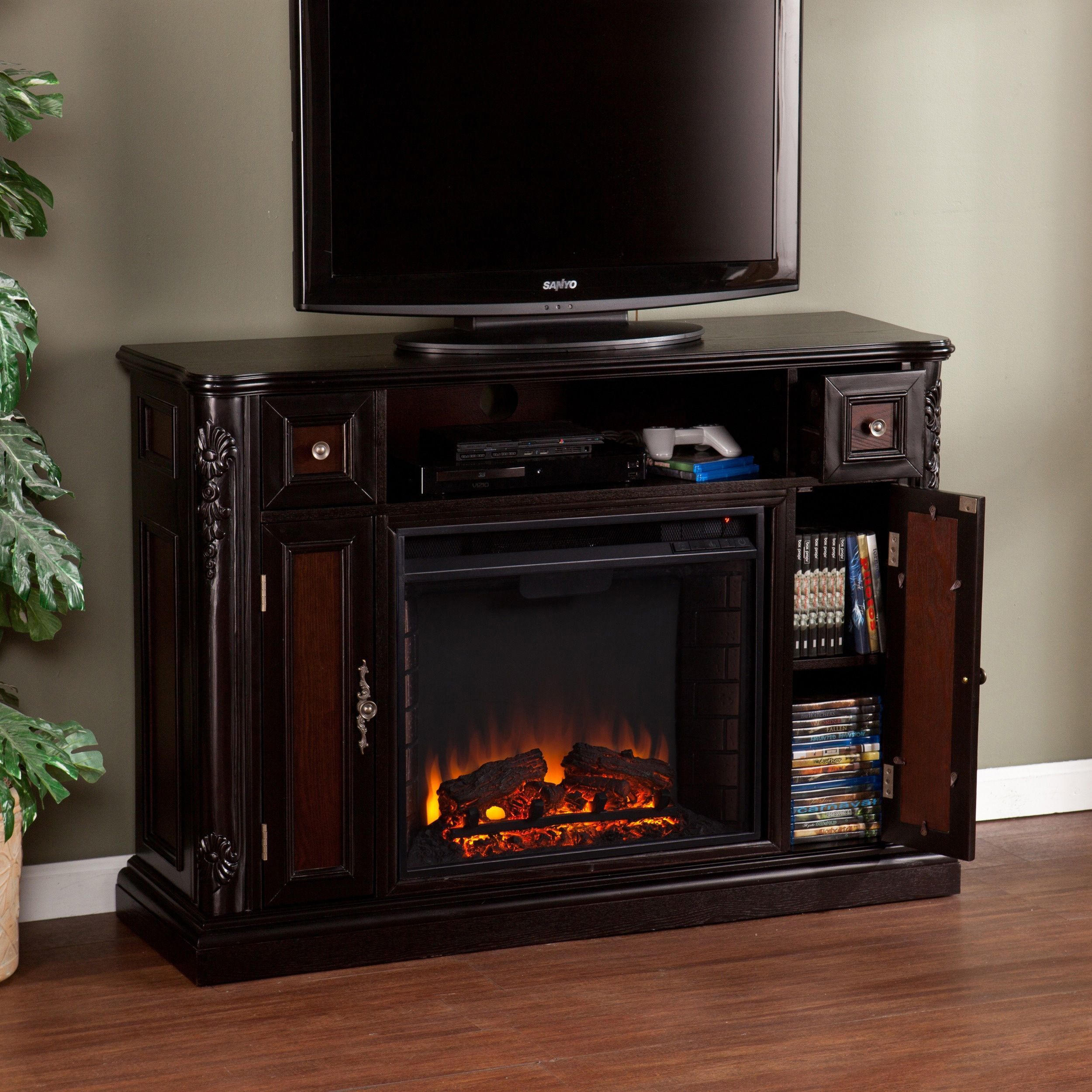 harper blvd ellis ebony media console stand electric fireplace