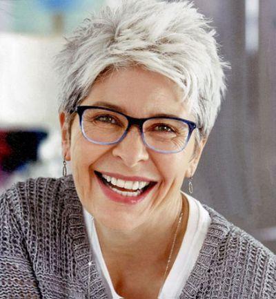 best short haircuts for women over  short grey hair