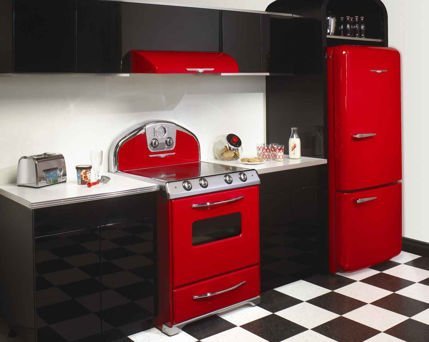 I Love 1950 S Kitchens But I Would Probably Use More Blue And Yellow Rather Than Just Red White And Blac Red Kitchen Decor Cherry Kitchen Decor Retro Kitchen