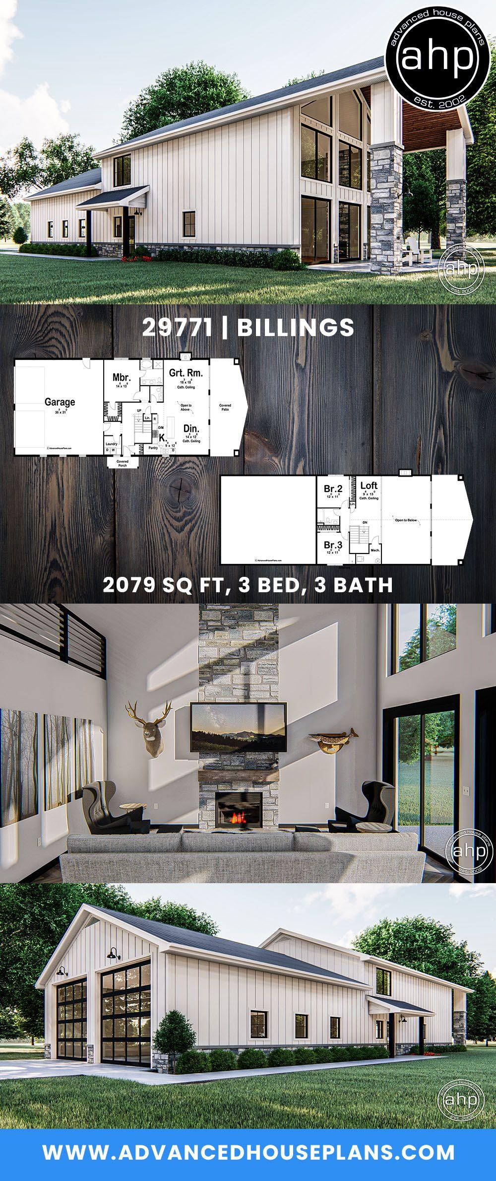 Post Frame Home Barndominium Plan Billings Barndominium Plans Barn House Plans House Plans Farmhouse