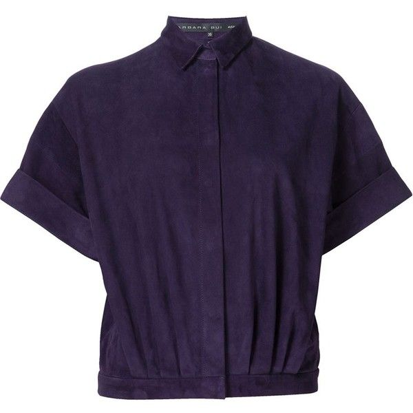 Barbara Bui snap fastening short sleeve shirt (2,817 CAD) ❤ liked on Polyvore featuring tops, short sleeve snap button shirts, snap shirt, snap button shirts, purple shirt and short sleeve snap shirts