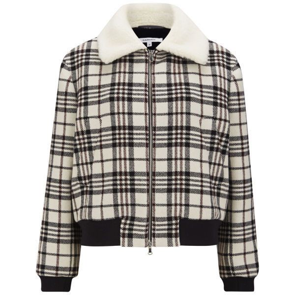 Carven Women's Tartan Wool Jacket - Cream (£456) ❤ liked on Polyvore featuring outerwear, jackets, pattern jacket, cream jacket, double zipper jacket, print jacket and faux fur collar jacket