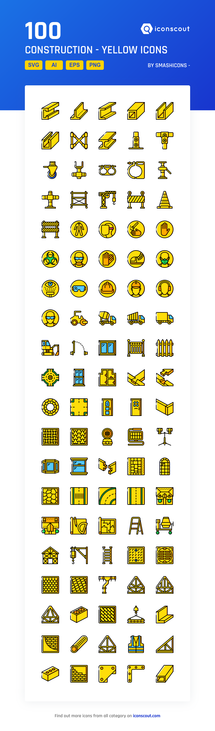 Construction Yellow Icon Pack 100 Filled Outline Icons Icon Icon Pack Construction