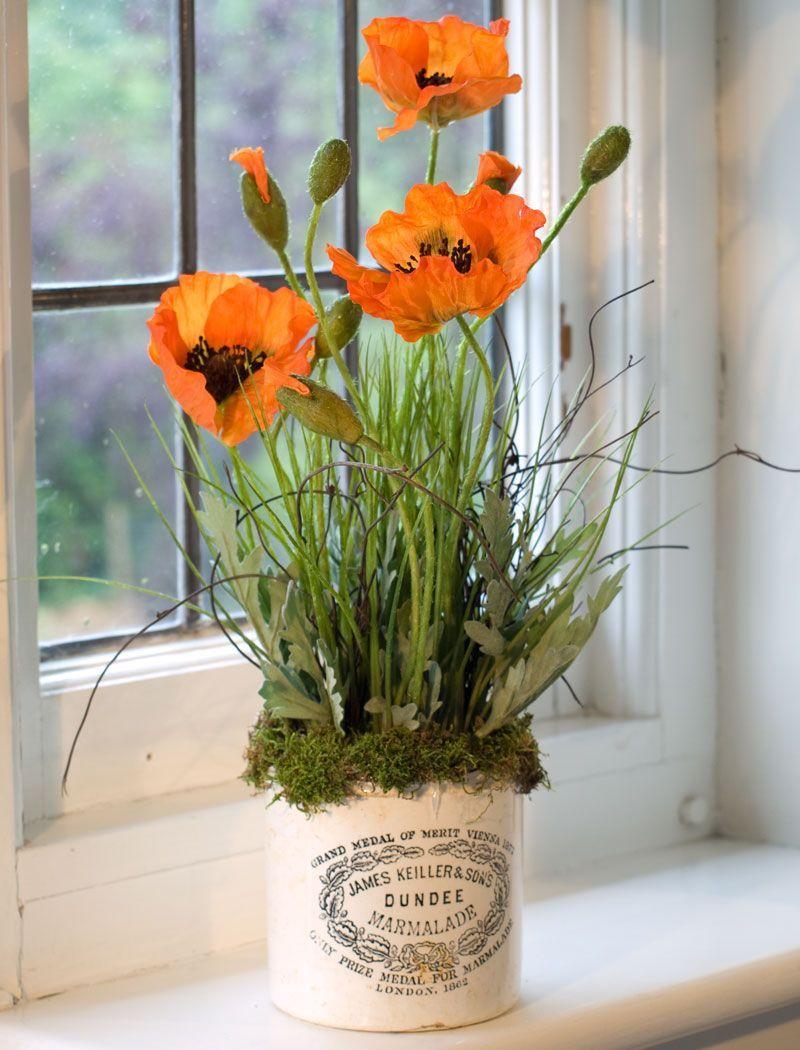 Poppies In Marmalade Jar Orange Rtfact Artificial Silk Flowers