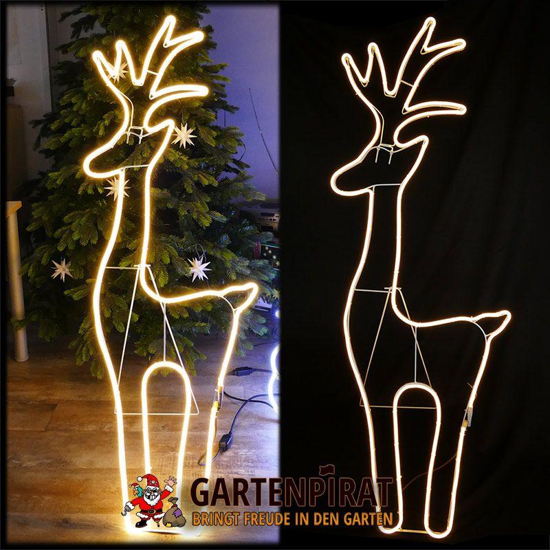 figur rentier 150 x 52 cm aus 6 m neon lichtschlauch mit 720 led warmwei geeignet f r garten. Black Bedroom Furniture Sets. Home Design Ideas