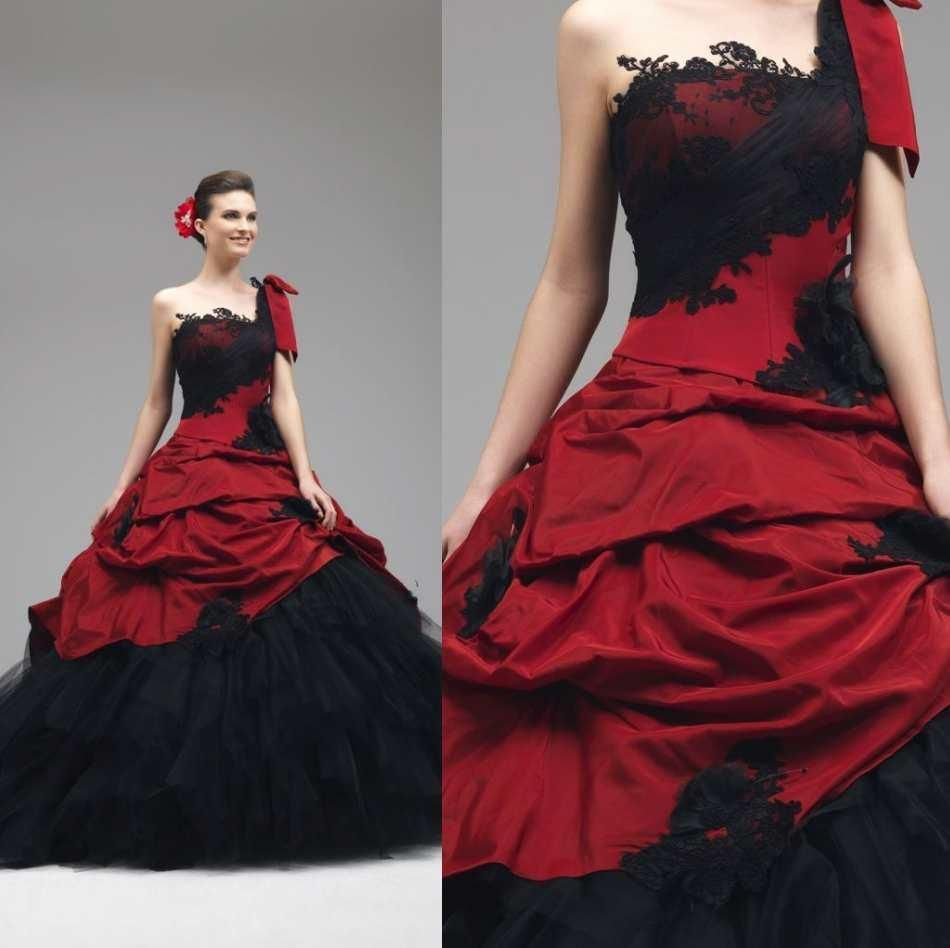 Gothic Red And Black Ball Gowns Vintage One Shoulder Wedding Dresses Bridal Gown Gothic Wedding Dress Bridal Gowns Vintage Red Wedding Dresses [ 948 x 950 Pixel ]