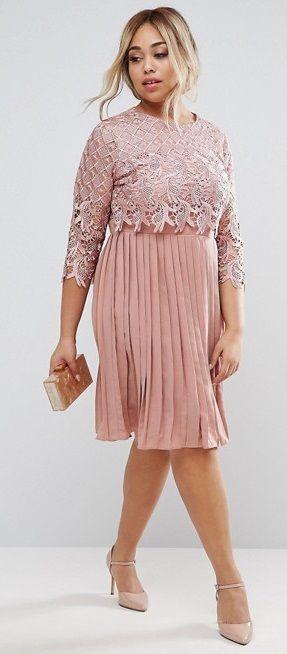 Plus Size Midi Dress With Pleated Skirt Plus Size Fashion