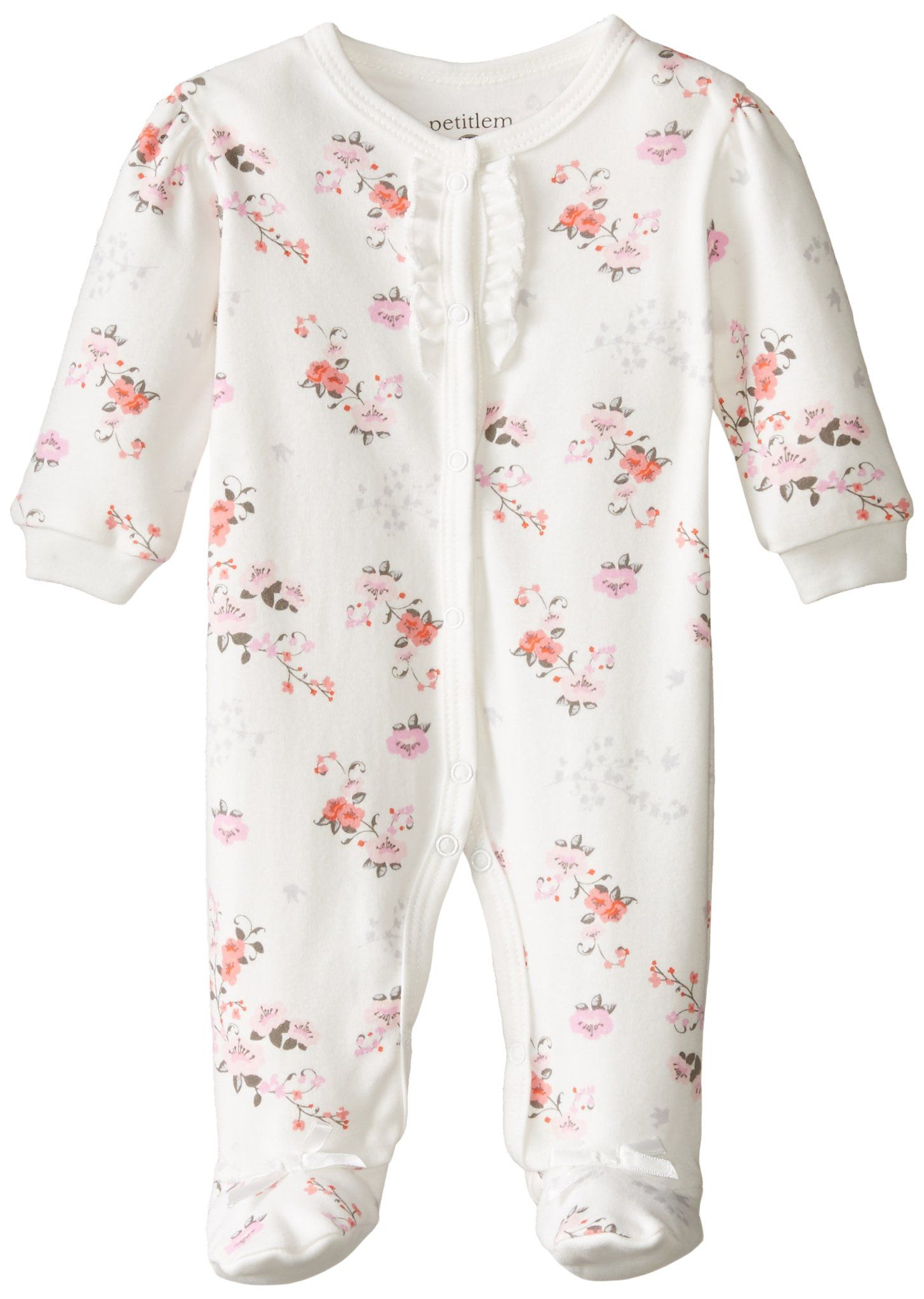 Petit Lem Baby Girls Newborn Footed Pajama Sleeper Chinese Garden