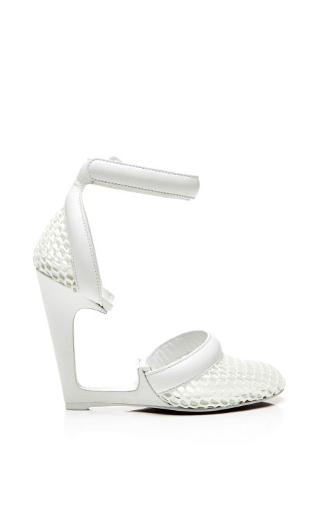 Caterina Chalk Pump In 3D Sport Mesh And Polished Calf by Alexander Wang for Preorder on Moda Operandi