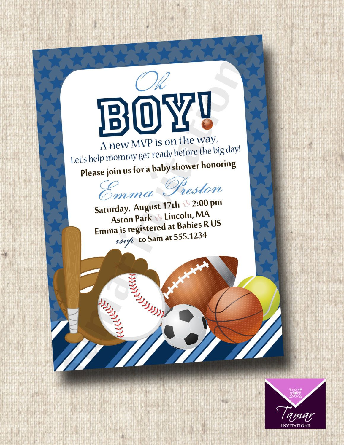 Printable SPORTS BABY SHOWER Invitation or Great for Sports Birthday ...