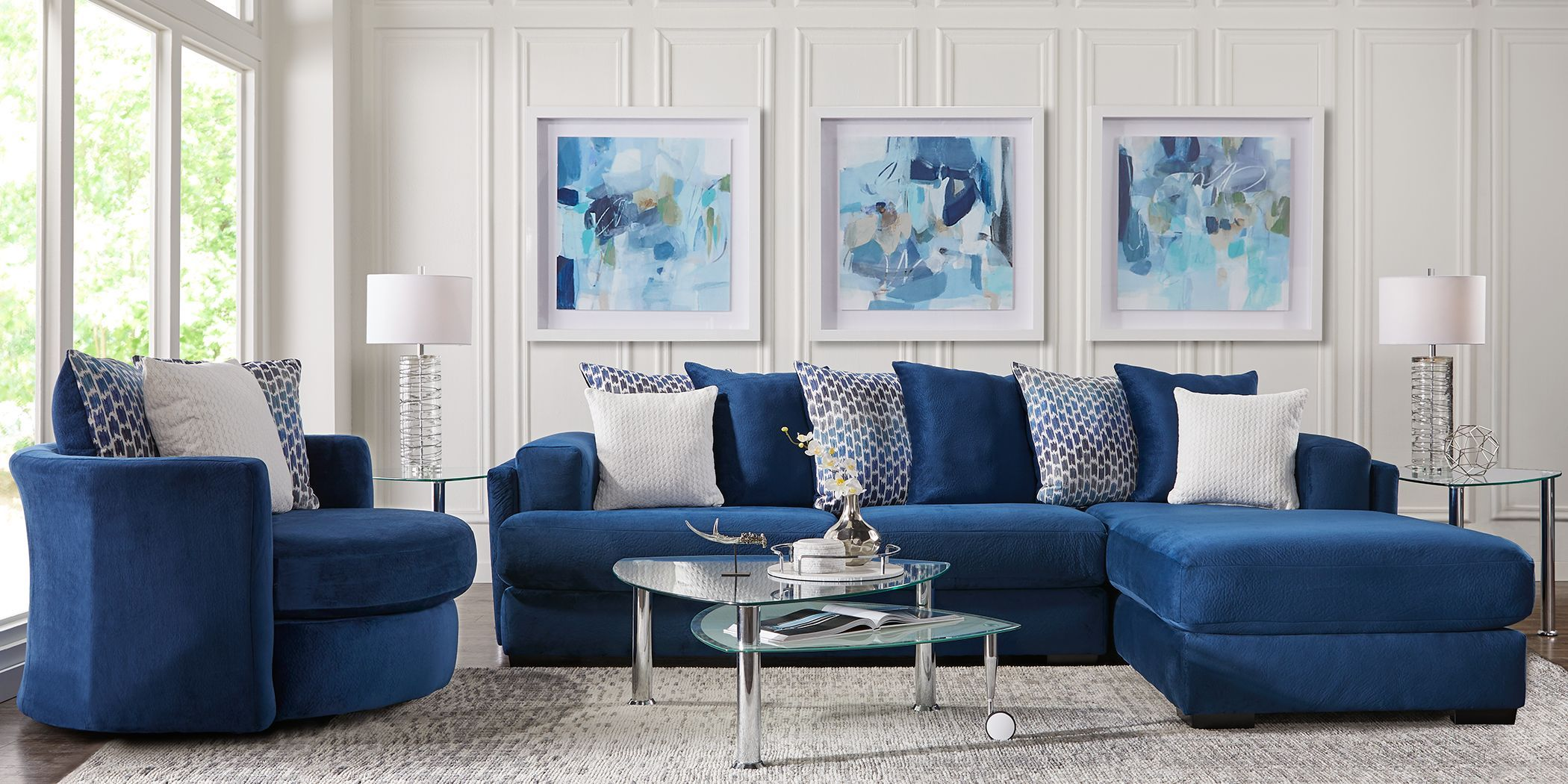 Park Trace Navy 2 Pc Sectional Living Room Sets Furniture Rooms