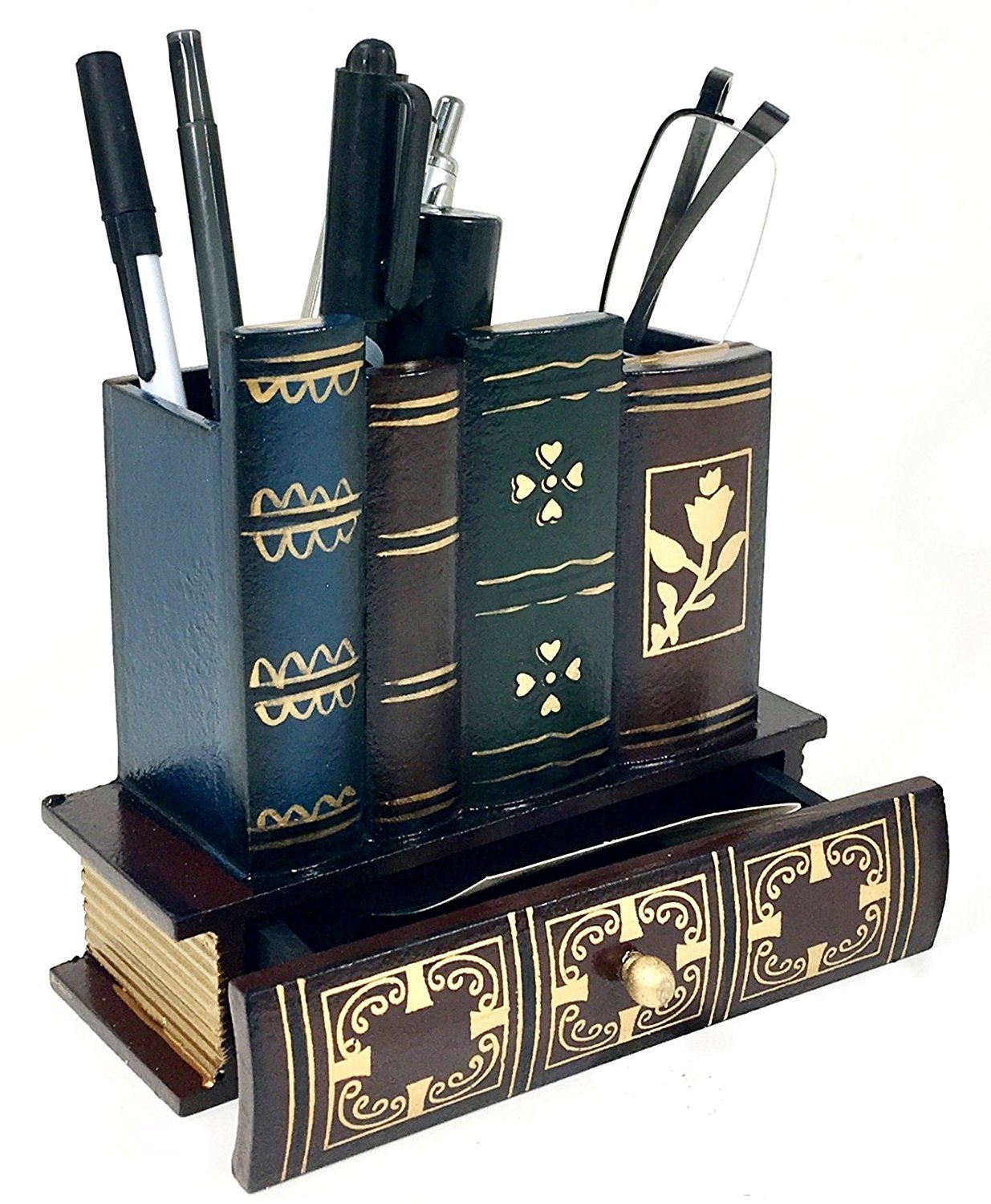 Image result for Decorative Library Books Design Wooden Office Supply Caddy Pencil Holder Organizer with Bottom Drawer