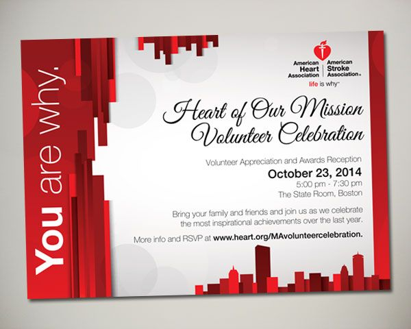 2014 american heart association heart of our mission volunteer 2014 american heart association heart of our mission volunteer celebration invitation design stopboris Choice Image