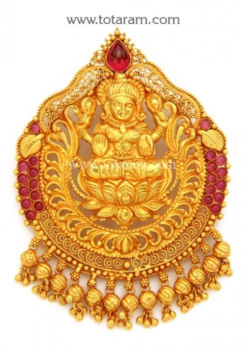 22k Gold Lakshmi Pendant Temple Jewellery Totaram