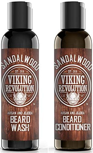 Beard Wash & Beard Conditioner Set w/Argan & Jojoba Oils - Softens & Strengthens - Natural Sandalwood Scent - Beard Shampoo w/Beard Oil (5 oz) #jojobaoil