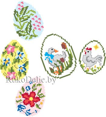 patterns for cross stitch Easter eggs