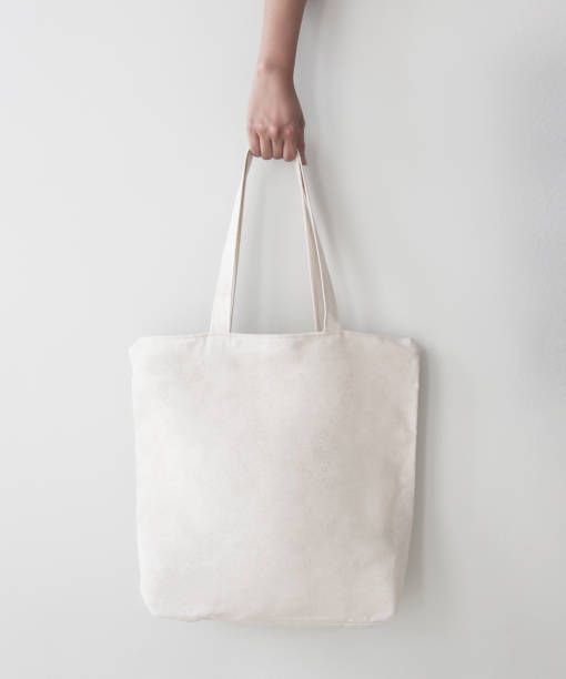 Blank Canvas Tote Bag Design Mockup With Hand Handmade Ping Bags