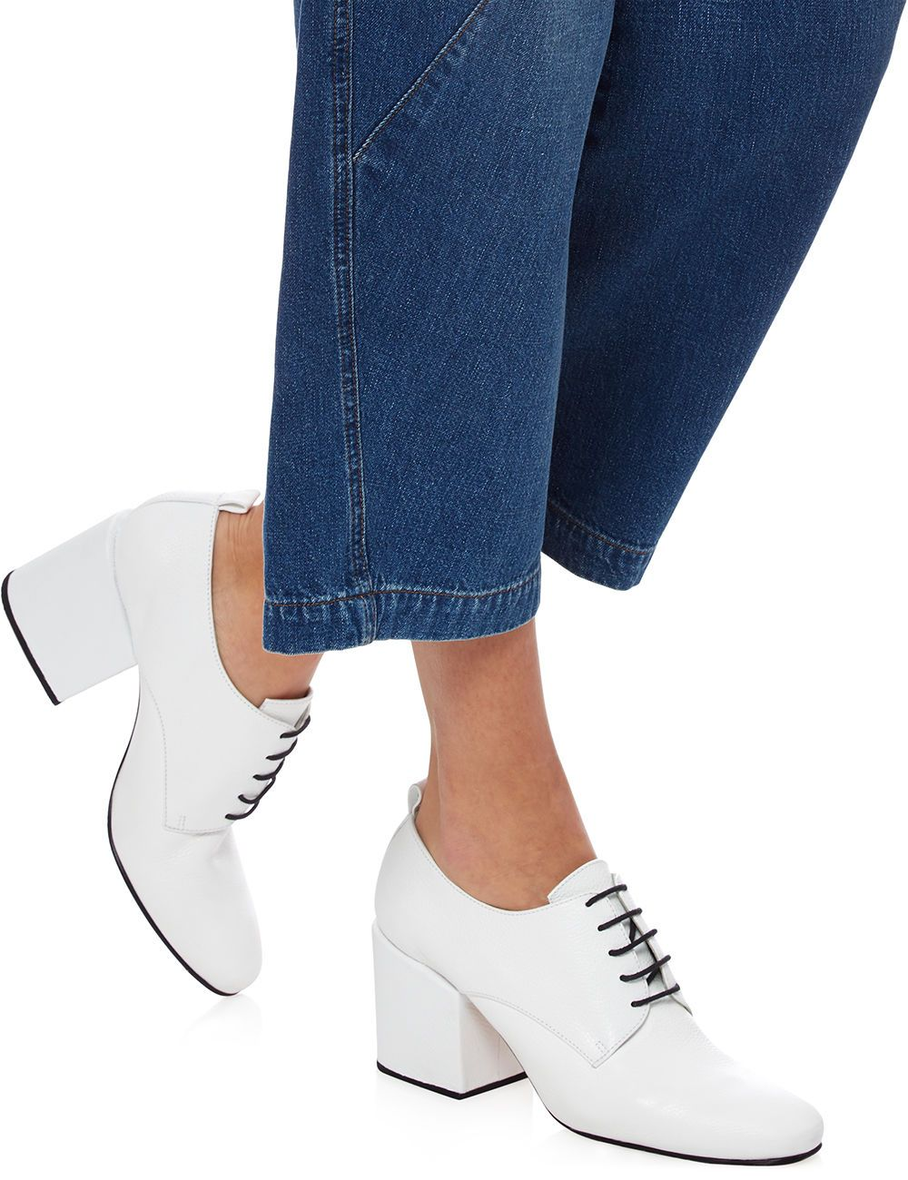 White Leather Block Heel Shoes