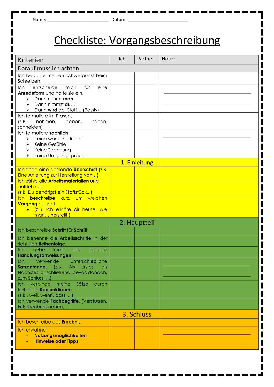 Deutsch Checkliste Zur Vorgangsbeschreibung Unterrichtsmaterial Im Fach Deutsch In 2020 Vorgangsbeschreibung Unterrichten Deutsche Schule