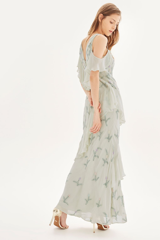 **Beaded Ruffle Cold Shoulder Maxi Dress