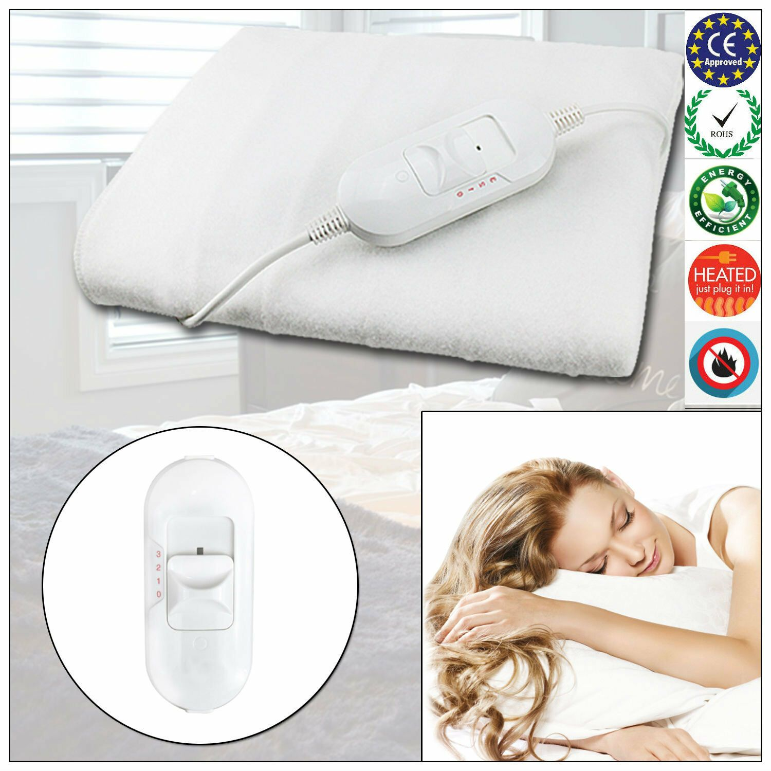 Details About Electric Blanket Heated Washable Fleece Under Luxury Single Double King Size Bed In 2020 Heated Blanket Double King Size Bed Shabby Chic Duvet