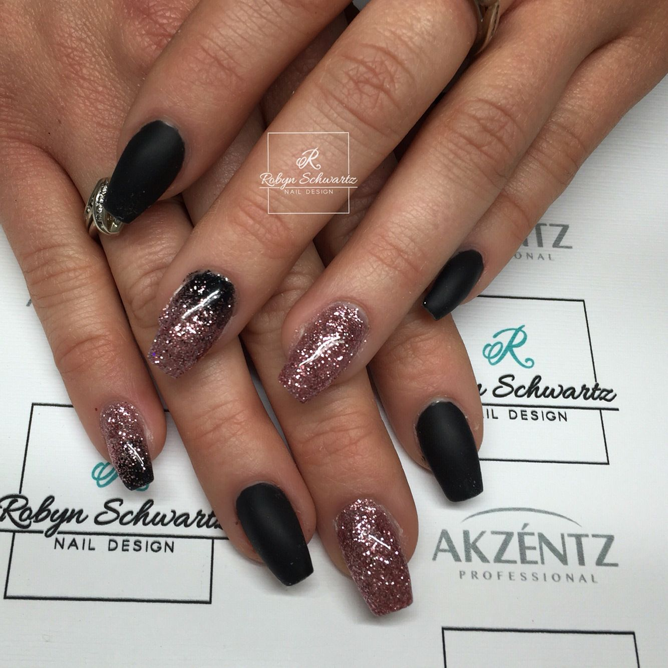 Matte black and pink glittery coffin gel nails | Blingy Nails ...