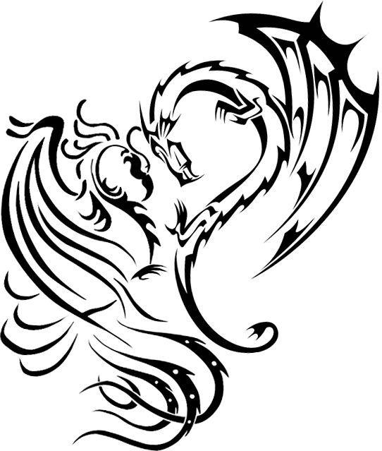Phoenix Dragon Heart By Naruto 1949 Deviantart Com On Deviantart Tattoo Dragon And Phoenix Tribal Dragon Tattoos Dragon Heart