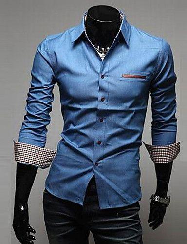 Camisa De los hombres Un Color Casual   Trabajo   Formal-Algodón    Vaquero-Manga Larga-Azul 2820608 2017 –  31.740 117214f733f